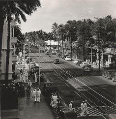 Honolulu, Hawaii, Kalakaua Avenue, 1940s, WWII ♥