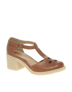 ASOS SINCLAIR Geeky Leather Mid Heel Shoes with Buckle  $81.10