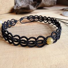 Macrame Choker Necklace Rutilated Quartz Stone Cotton Waxed Cord Handmade…