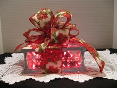 Red Poinsettia on glass block with RED lights by Originalsbysuej, $30.00