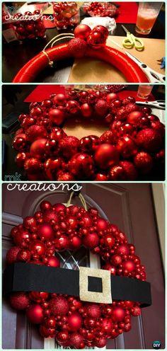 DIY Santa Belt Bauble Ornament Wreath Instructions- #Christmas #Wreath Craft Ideas Holiday Decoration