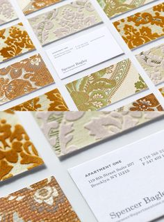 Business cards made with authentic vintage wallpaper - nicely textured