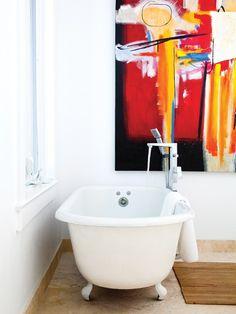 (art in the background) Luxurious Modern Ensuite Bathroom   photo Ashley Tonner   design Danielle Nicholas   House & Home