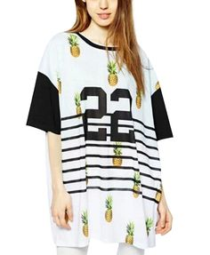 Pineapple Letter Print Loose Fit Short Sleeves T-shirt