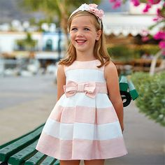 What a neat dress! ----- -Satin dress with pleats for girl Blush Little Girl Dresses, Girls Dresses, African Dresses For Kids, Womens Knit Sweater, Baby Clothes Patterns, Amelia Dress, Dress With Bow, Satin Dresses, Baby Dress