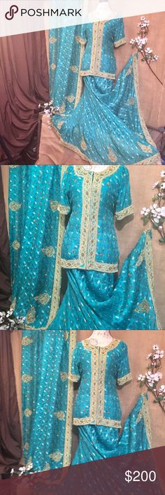 """EUC BEAUTIFUL Handmade Traditional Indian Choli This Choli has been previously worn, it is an XL, size 18/20.  Arm Pit to Arm Pit- 22"""" Length of top is 26"""" from shoulder to hem.  Breathtaking detail. Made with silk, satin, taffeta, lace and beading.  What's included in this Choki is; Shell  beaded top The Skirt (with drawstrings) Scarf Tailored Dresses"""