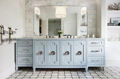 Light Blue Bathroom Vanity with Ornate Doors Benjamin Moore Silver Mist Circa Lighting Scallop Chandelier