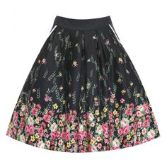 Daniella Black Floral Swing Skirt | 50's Inspired Fashion - Lindy Bop