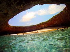 The hidden Beach at Mariette Islands in Mexico, you enter through an underwater tunnel.