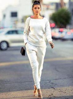 #Oasap - #oasap Solid Color Long Sleeve Sweatshirt Pencil Pants Set - AdoreWe.com