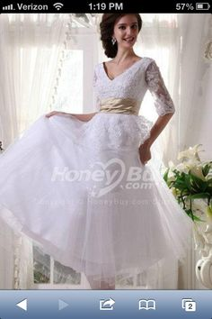 Tea length wedding dress with sleeves imagine under the 'belt' would be satin....