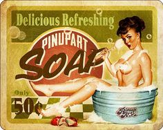 "Pin-Up ""Soap"" - hand made illustration in digital art by Mad Mac."
