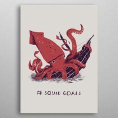 squid goals shirt Art Print by louisroskosch Poster Prints, Art Prints, Posters, Squad Goals, Print Artist, Cool Artwork, Printed Shirts, Decor Styles, Gallery Wall