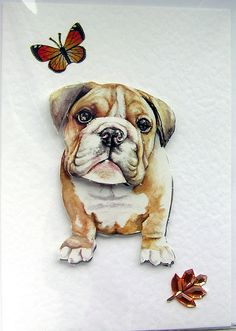 Bulldog HandCrafted 3D Decoupage Card  Blank by SunnyCollectables, £1.50