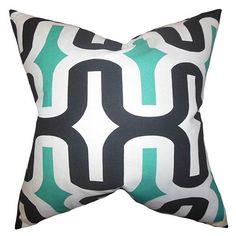 Jaslene Jade 18 x 18 Geometric Throw Pillow
