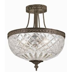 Crystorama Lighting Group English Bronze Bohemian Crystal Basket 3 Light Wide Semi Flush Ceiling Fixture with Lead Crystal Shade Crystal Candelabra, Candelabra Bulbs, Ceiling Light Fixtures, Ceiling Lights, Modern Ceiling, Flush Mount Ceiling, Crystals, English, Chandeliers