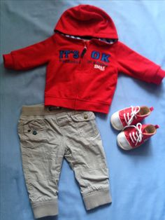 Baby outfit - red jacket and baby shoes