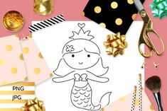 Mermaid Princess Coloring (Graphic) by Revidevi · Creative Fabrica Kids Graphics, Princess Coloring Pages, Mermaid Princess, Digital Stamps, Gift Cards, Making Ideas, Coloring Books, Craft Projects, Card Making