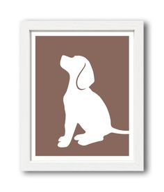 Beagle Print version 3 Beagle Silhouette by ShapeofLove on Etsy