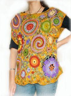 Woman's Summer Top Vest Blouse Freeform Crochet OOAK Wearable Art - Mexican…