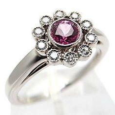 TIFFANY & CO FLOWER ENGAGEMENT RING PINK SAPPHIRE DIAMOND SOLID PLATINUM