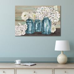 With its rustic look, this Artissimo Designs Colorful Flowers in Mason Jar canvas wall art will complement anything from shabby chic to farmhouse decor. Bathroom Canvas, Canvas Art Prints, Framed Wall Art, Wall Art Decor, Canvas Wall Art, Canvas Paintings, Paintings Famous, Floral Paintings, Diy Canvas