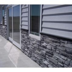 Increase value to your home or business by using this Stack-N-Tack Colorado Gray Stone Veneer Siding. Stone Veneer Exterior, Faux Stone Siding, Stone Veneer Panels, Stone Exterior Houses, Faux Stone Panels, House Paint Exterior, Exterior House Colors, Stone Houses, Stone House Exteriors