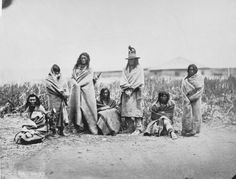 L-R: Fox Tail, Fox Tail's wife, Yellow Bull, Yellow Top, Bull That Goes Hunting, Yellow Coat, Woman Who Walks On Ice - Crow - 1868