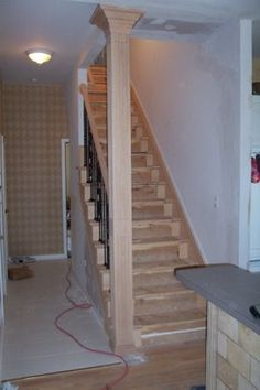 Architectural Treatment Of Staircase Half Wall With Custom