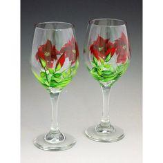 ChristinasHandpainted Poinsettia Hand Painted Glass