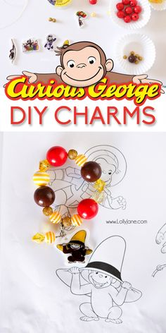 DIY shrinky dinks bracelets, inspired by Curious George coming exclusively to Hulu. Cute kids craft activity. Fun kids activity craft.  AD