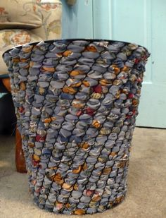DIY woven fabric wastebasket - easy, fun, versatile - use fabric to compliment or coordinate