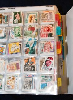 I'd like to get my hands on these stamps! Good storage idea. Stamps in slide sleeves