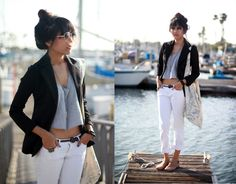crop top, bf jeans and blazer    weekend casual