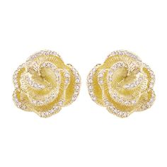 Effy Jewelry Jardin Bloom Yellow Gold Diamond Earrings, .45 TCW ($2,156) ❤ liked on Polyvore