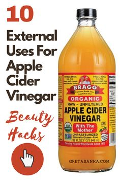 Due to apple cider vinegar's properties, it comes with a dozen health benefits when taken internally. In this post, however, I am going to share 10 different ways that you can use apple cider vinegar and its amazing properties for external beauty uses. 1. Apple cider vinegar is a great natural alternative for your facial toner. It balances the pH level in your skin which is what a toner is intended for. #applecidervinegar #beautyhacks #beauty