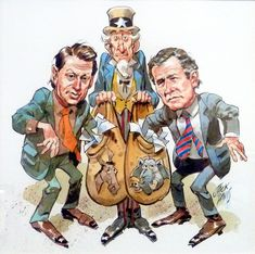 Jack Davis cartoon of the electoral farce surrounding the  Bush v Gore election.  In the end it might just as well have been decided by a game of lucky-dip.