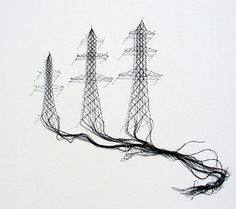 Belgian artist Elodie Antoine, who is using lace-making techniques to create contemporary artwork that contrasts the delicate and romantic material with more severe industrial imagery. Art Fibres Textiles, Textile Fiber Art, Textile Artists, Art Fil, Lace Art, Thread Art, Pin Art, Art Graphique, Contemporary Artwork