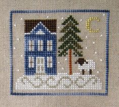 """Stitching Dreams: Week Eleven: Winter's Eve  This design is from the Just Cross Stitch 2006 Ornament Issue """"Winter's Eve"""" is designed by Country Cottage Needleworks"""