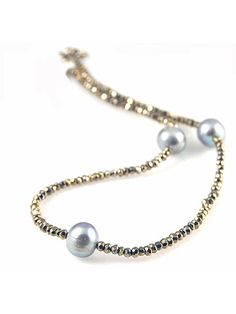 Faceted Silver Pyrite And Pearl Necklace by Alane Weissman from Alane Weissman Jewelry