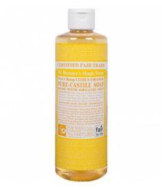 Citrus Orange Liquid Soap es un jabón 100% natural de Dr.Bronner's elaborado con aceites cítricos orgánicos. Agradable olor fresco y cítrico. Contiene naranja, limón y lima. Estimula la piel y tonifica el cuerpo. Los jabones líquidos de Dr.Bronner's son multifuncionales. Descubre todos sus usos en consejos. 473ml.