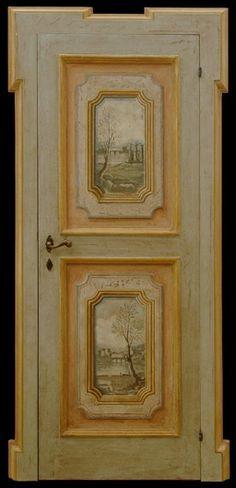 Reproductions of antique italian painted doors - Porte del Passato Antique Doors, Antique Paint, Old Doors, Wood Door Paint, Painted Doors, Hand Painted Furniture, Paint Furniture, Italian Doors, Wall Stencil Patterns