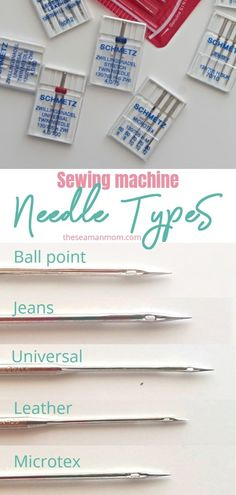 believe the most common secret to a great sewing project is in the sewing machine needles? Choosing the right sewing needle types for your projects makes a huge difference! Here's a simple and easy needles guide to help you choose the right . Easy Sewing Projects, Sewing Projects For Beginners, Sewing Hacks, Sewing Tutorials, Sewing Crafts, Sewing Tips, Sewing Machine Projects, Sewing Ideas, Techniques Couture