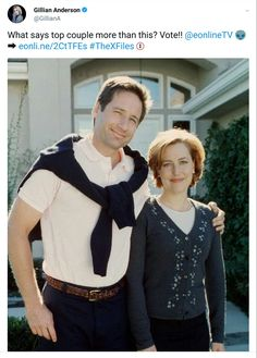 Gillian Anderson agrees that Mulder and Scully are TV's top couple... Vote!!! ❤