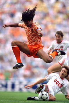 25 June 1988 European football championships final Netherlands v Soviet Union Netherlands captain Ruud Gullit leaps over the leg of Sergei Aleinikov...