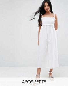 7e38eb79199 ASOS PETITE Jumpsuit in Cotton with Shirred Bodice Long Jumpsuits