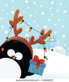 Reindeer Costumed Penguin With Gift
