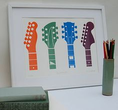 Guitar headstock print by invisible friend £95