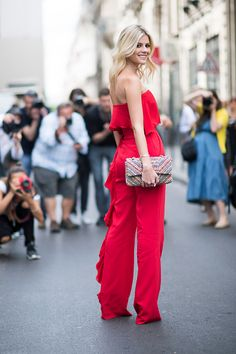 Lala Rudge seen in the streets of Paris during Haute Couture F/W 2016/2017 on…