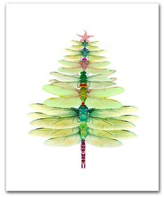 Dragonfly Tree cards. Winter solstice card,Christmas tree, 10 per box holiday card set,woodland gift. green,dragonfy, door ShirleyBell op Etsy https://www.etsy.com/nl/listing/114848450/dragonfly-tree-cards-winter-solstice
